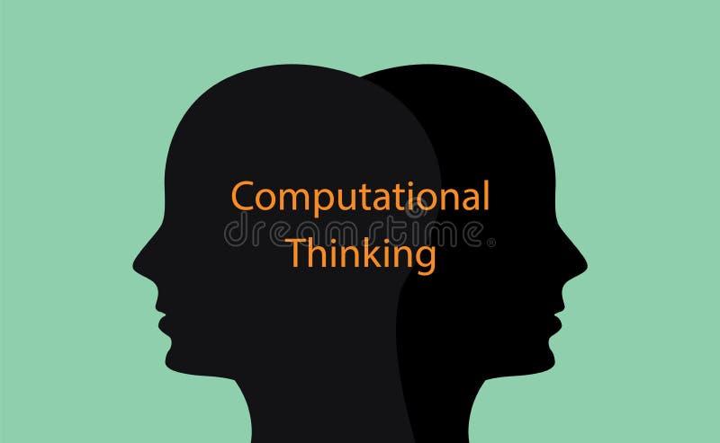 Ilustração de pensamento computacional do conceito com a silhueta da cabeça humana e texto sobre ele ilustração royalty free