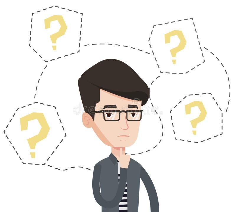 Ilustração de pensamento do vetor do homem de negócios novo ilustração royalty free