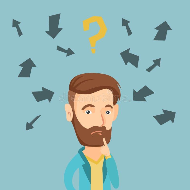 Ilustração de pensamento nova do vetor do homem de negócio ilustração stock