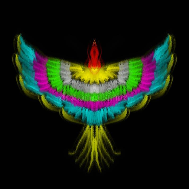 Ilustração de Phoenix e de arco-íris combinados fotos de stock royalty free