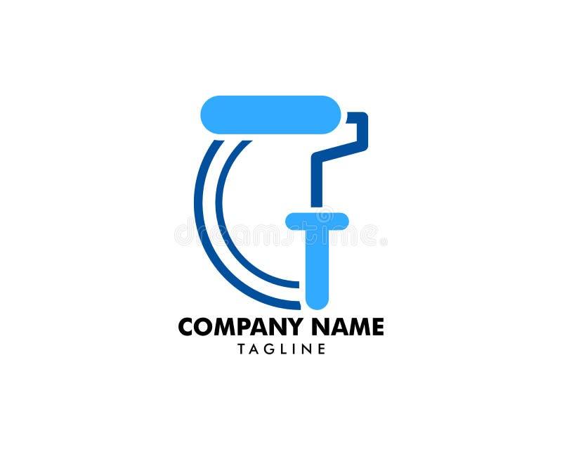 Ilustração de pintura do elemento do logotipo do ícone do rolo ilustração stock