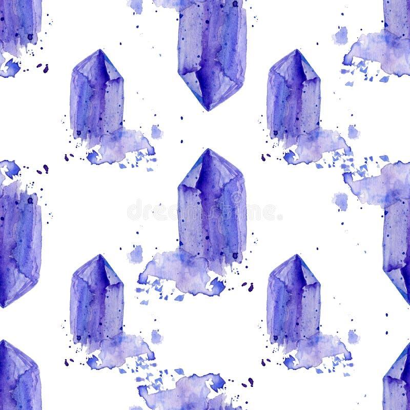 Ilustração de pintura tirada do conjunto da ametista dos cristais da aquarela mão roxa isolada no contexto branco, sem emenda ilustração royalty free