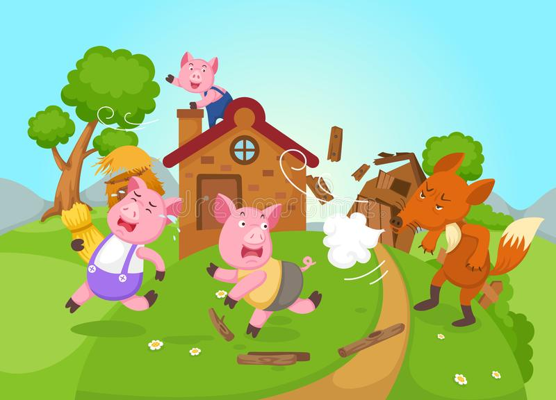 Ilustração de porcos pequenos isolados do conto de fadas três ilustração stock