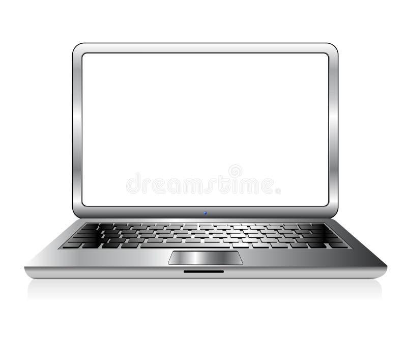 Ilustração de prata do vetor do ícone do laptop do PC ilustração do vetor