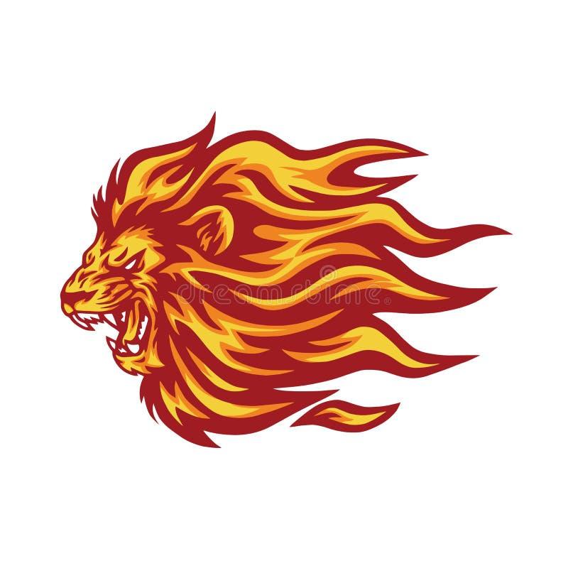 Ilustração de PrintRoaring Lion Flaming Fire Logo Vetora ilustração do vetor