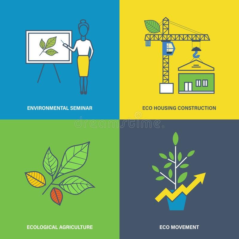 Ilustração de projetos ambientais, crescimento no setor de construção, agricultura ilustração stock