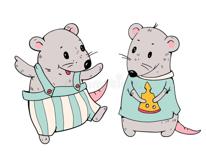 Ilustração de ratos engraçados dos desenhos animados com queijo