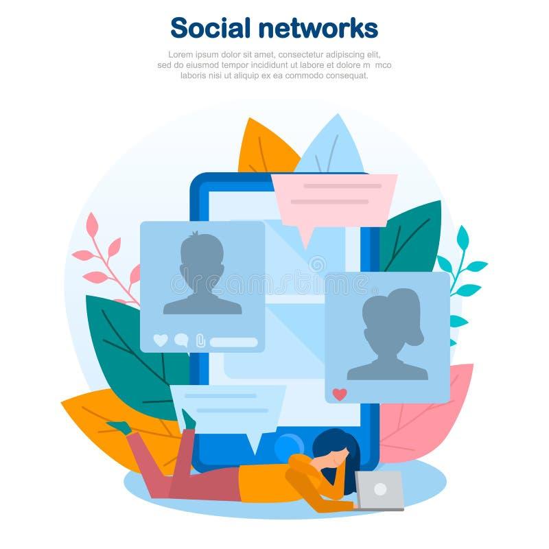 Ilustração de redes sociais, uma comunicação do conceito do Internet, socialização em linha, serviço online, em linha, Web, appli ilustração do vetor
