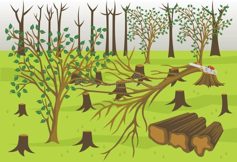 Ilustração de registro de madeira do vetor da indústria da silvicultura ilustração royalty free