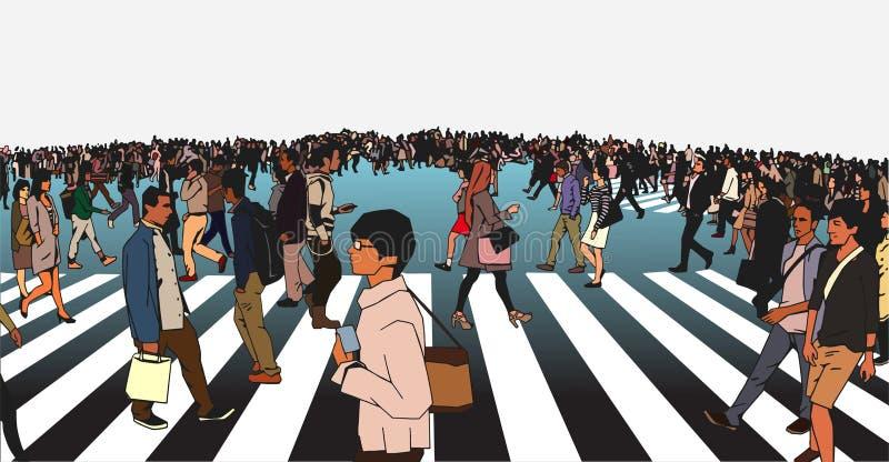 Ilustração de rua étnica misturada do cruzamento da multidão na zebra ilustração royalty free