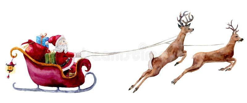 Ilustração de Santa Claus da aquarela Santa pintado à mão com GIF ilustração stock