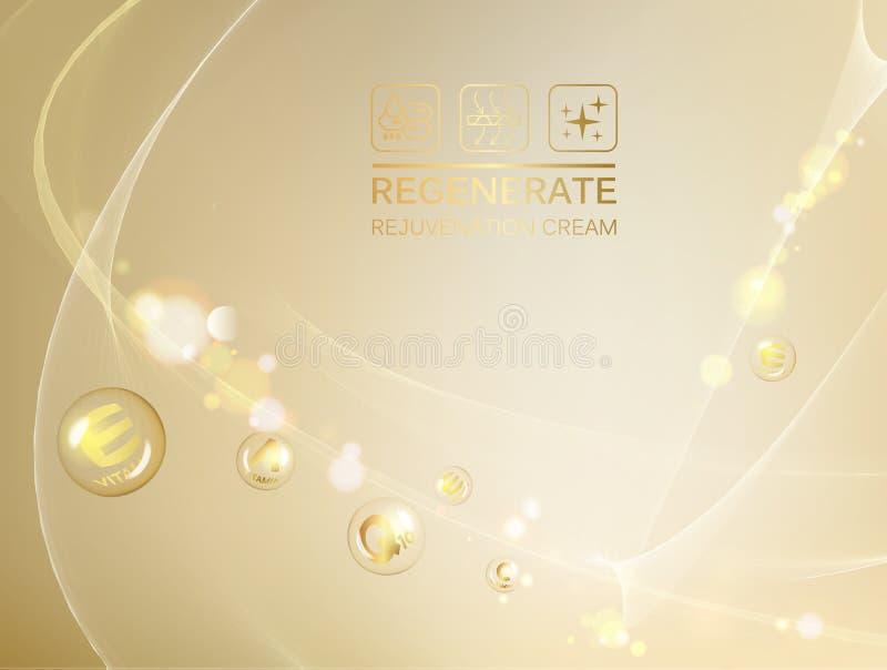 Ilustração de Scince de uma molécula do ADN Conceito creme de cara e do complexo regenerados da vitamina Cosmético orgânico e cui ilustração royalty free