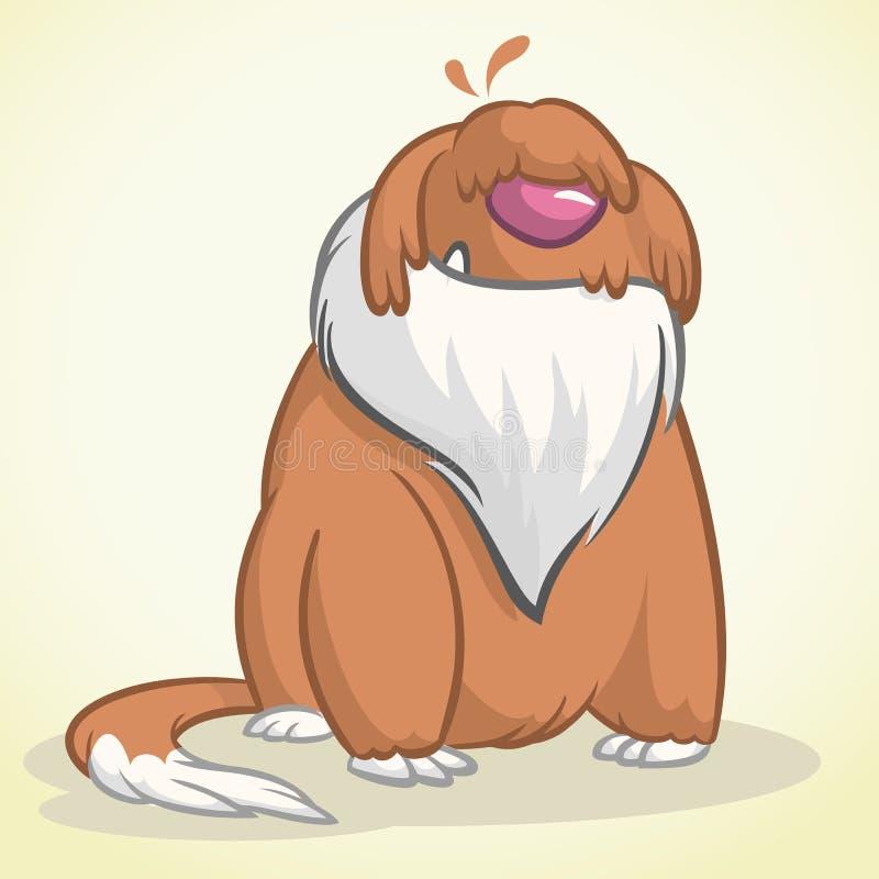 Ilustração de sentar o cão pastor inglês velho engraçado Cão dos desenhos animados do vetor ilustração royalty free