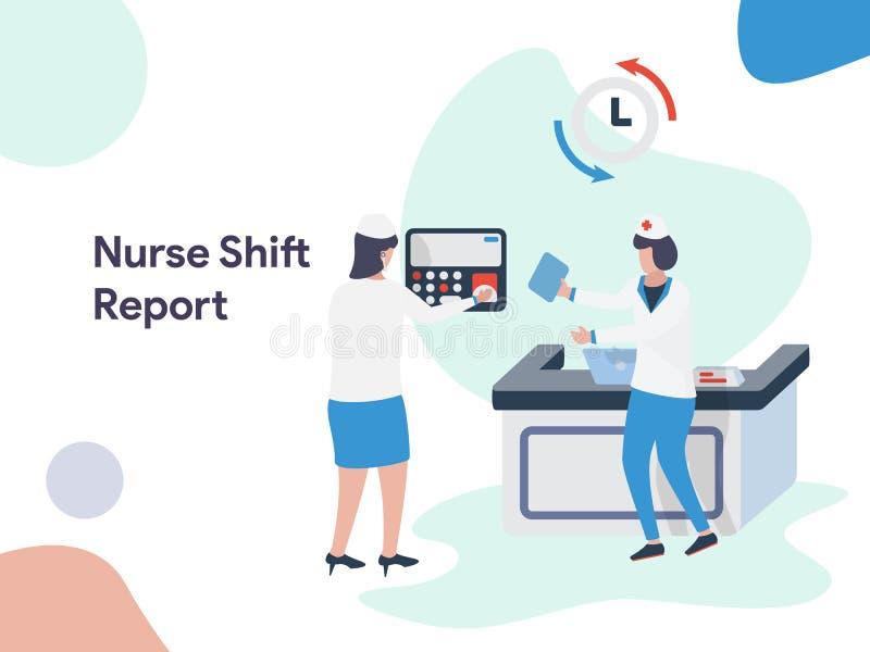 Ilustração de Shift Report da enfermeira Estilo liso moderno do projeto para o Web site e o Web site móvel Ilustração do vetor ilustração royalty free