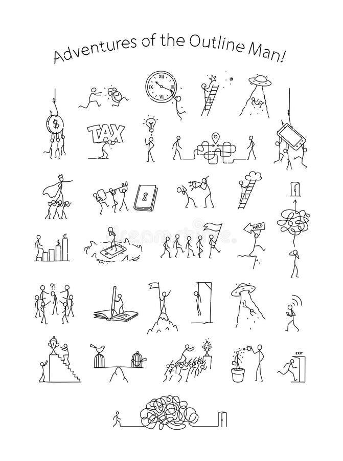 Ilustração de situações e de casos de negócio Vetor Vida na coletividade e na sociedade metaphor estilo linear Ilustração ilustração royalty free