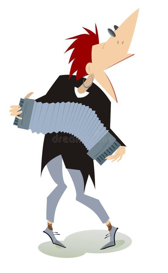 Ilustração de sorriso do jogador do acordeão dos desenhos animados isolada ilustração do vetor