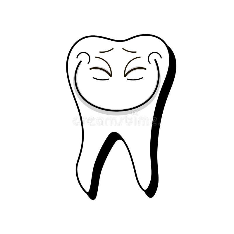 Ilustração de sorriso do vetor do dente saudável branco no fundo branco ilustração royalty free