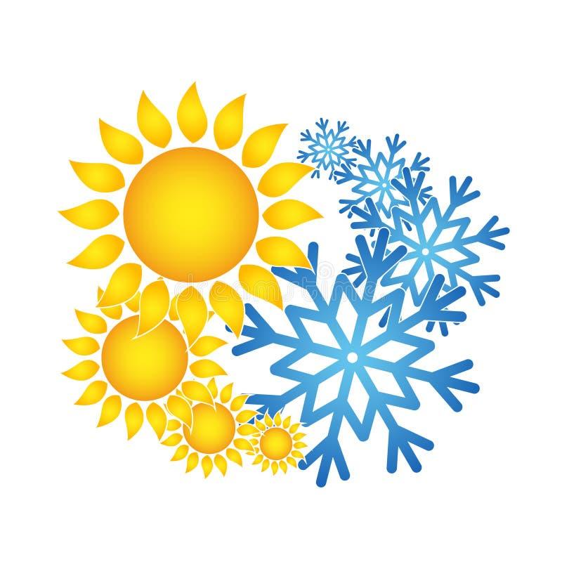 Ilustração de Sun e de vetor do condicionador de ar do floco de neve ilustração do vetor
