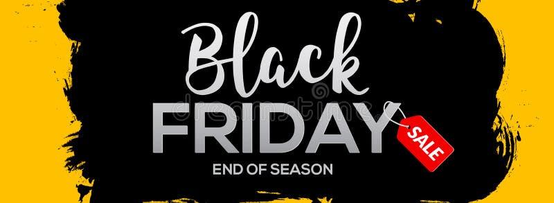 Ilustração de tinta preta abstrata do molde da bandeira do respingo de Black Friday Etiqueta preta do grunge da venda de sexta-fe ilustração royalty free
