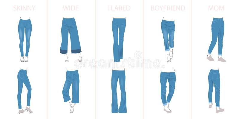 Ilustração de tipos das calças de brim ilustração stock