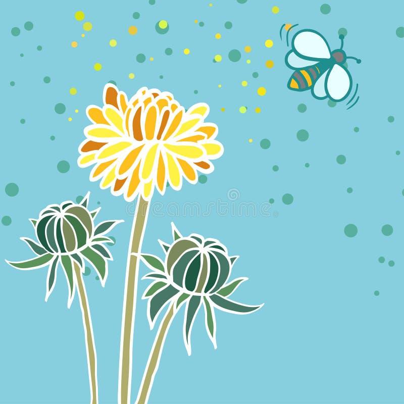 Ilustração de três dentes-de-leão e abelhas ilustração stock