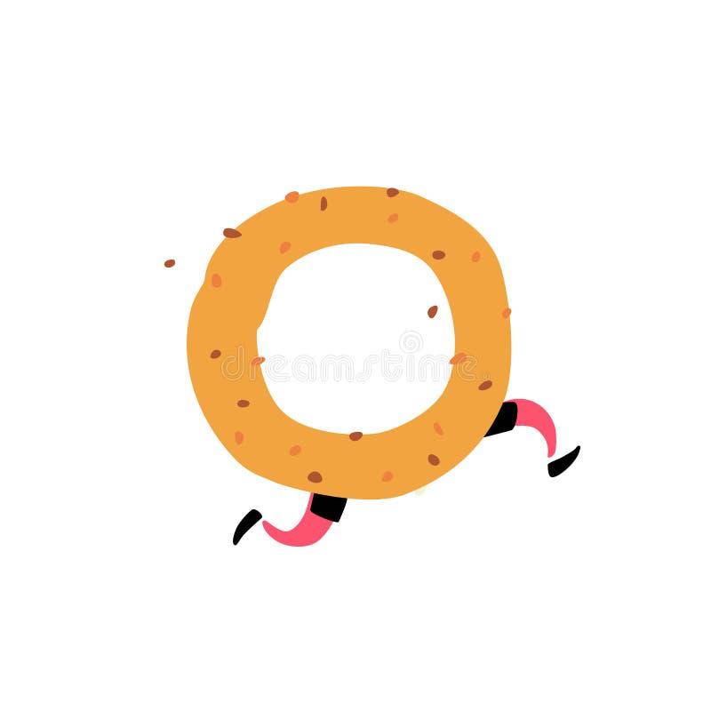 Ilustração de um bagel saboroso Vetor Caráter com pés Ícone para o local no fundo branco Sinal, logotipo para a loja entrega ilustração stock