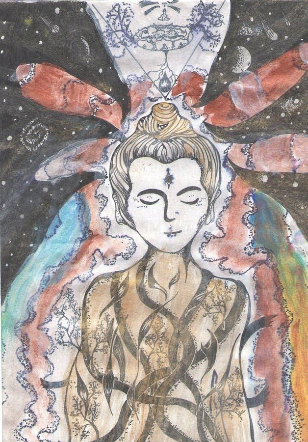 Ilustração de um buddha meditando em um fundo do espaço ilustração do vetor