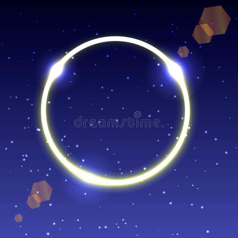 Ilustração de um círculo de incandescência de néon com brilho no céu estrelado ilustração royalty free