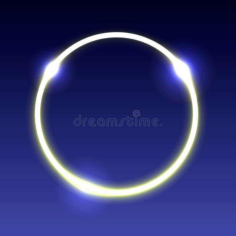 Ilustração de um círculo de incandescência de néon com destaques em uma obscuridade - fundo azul ilustração royalty free