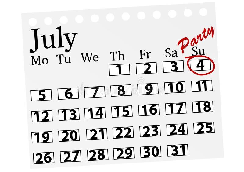Ilustração de um calendário com o ô julho marcado ilustração do vetor