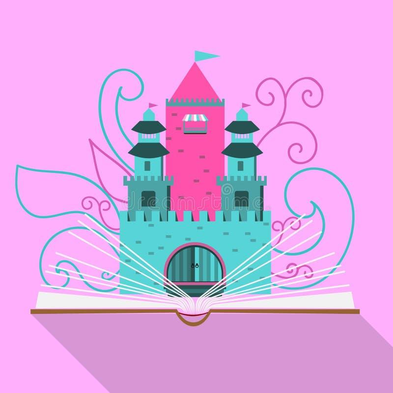 Ilustração de um castelo do conto de fadas de um livro aberto no projeto liso ilustração stock
