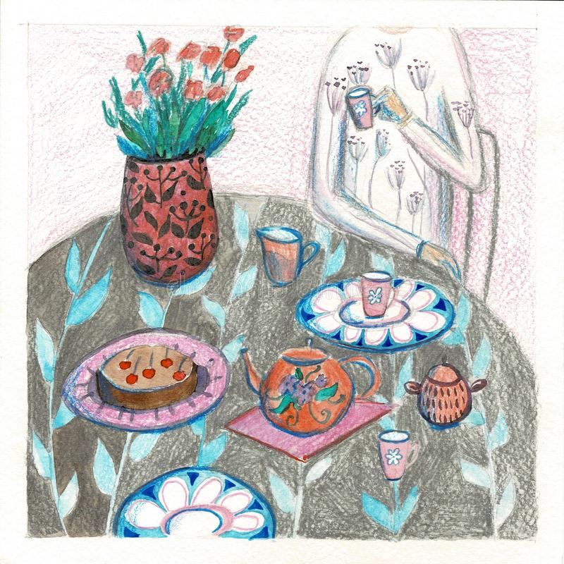 Ilustração de um chá bebendo do homem na tabela de jantar Fundo da mesa de jantar Ilustração da quadriculação do abastecimento co ilustração do vetor