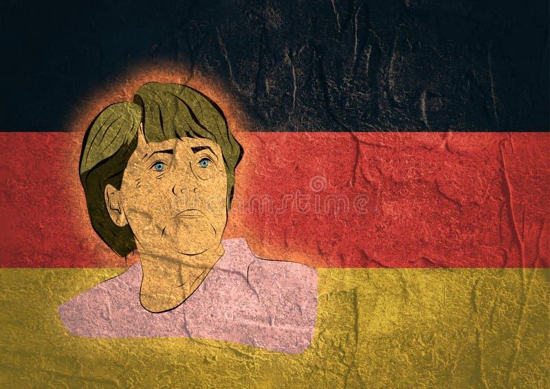 Ilustração de um chanceler alemão Angela Merkel do retrato ilustração royalty free