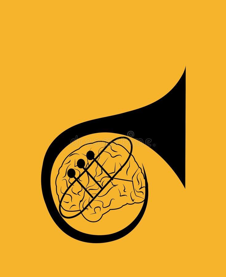 Ilustração de um chifre formado de um cérebro fotografia de stock