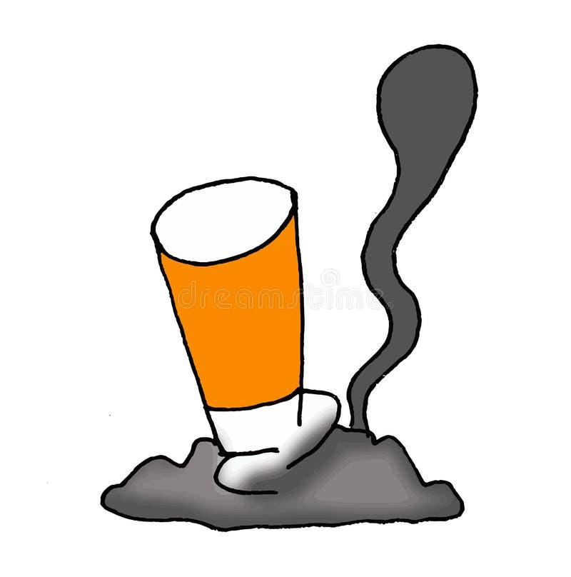 Ilustração de um cigarro maçante e esmagado contra a terra ilustração stock