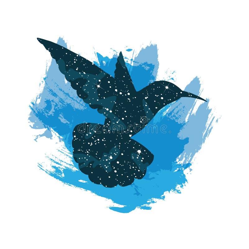 Ilustração de um colibri do céu noturno Cópia do vetor isolada no fundo branco ilustração stock