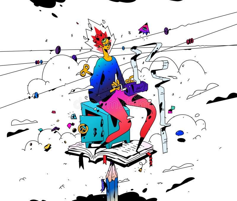 Ilustração de um contador no trabalho Vetor Estilo liso dos desenhos animados O contador da menina mantém contas A mulher de negó ilustração do vetor