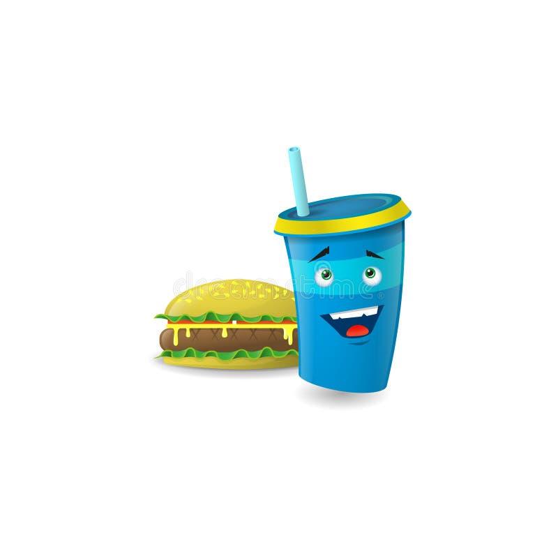 Ilustração de um copo de papel feliz dos desenhos animados azuis com palhas com hamburguer ilustração stock
