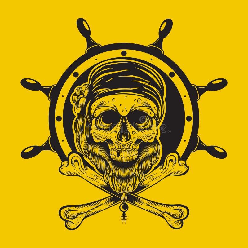 Ilustração de um crânio do pirata ilustração royalty free