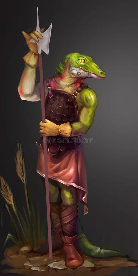 Ilustração de um crocodilo com uma lança ilustração royalty free