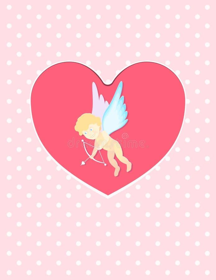 Ilustração de um cupido do dia do ` s do Valentim pronto para disparar em sua seta no cartão do cartão do coração ilustração do vetor