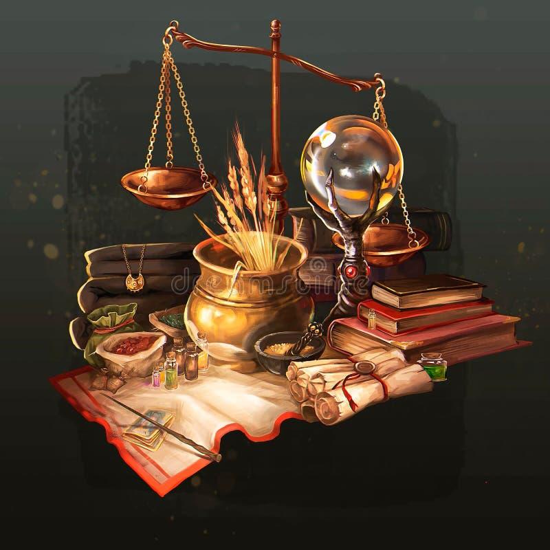 Ilustração de um doutor mágico da tabela ilustração do vetor