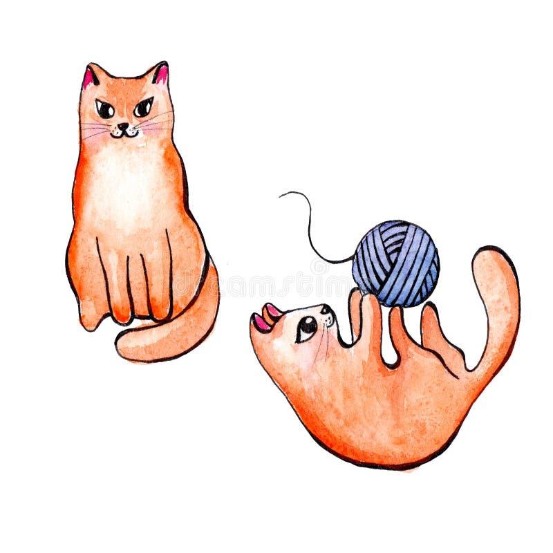 Ilustração de um esboço de um gato vermelho bonito na aquarela ilustração royalty free