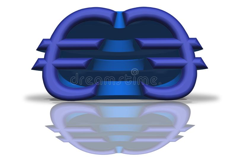 A ilustração de um Euro espelhado azul assina na rendição 3D ilustração do vetor