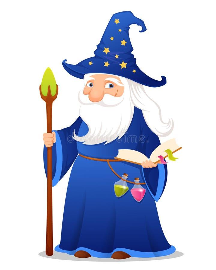Ilustração de um feiticeiro bonito dos desenhos animados ilustração do vetor