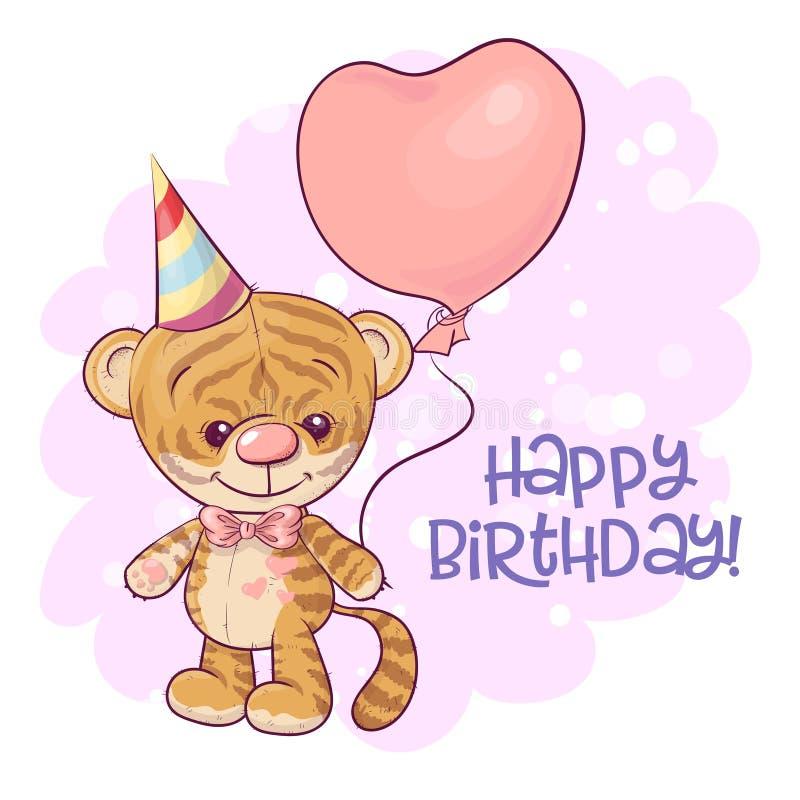 Ilustração de um filhote de tigre bonito dos desenhos animados com balões ilustração royalty free