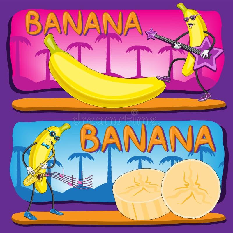 A ilustração de um fruto do caráter da banana cortou a palmeira das notas da música do saxofone da guitarra isolada no fundo roxo ilustração stock