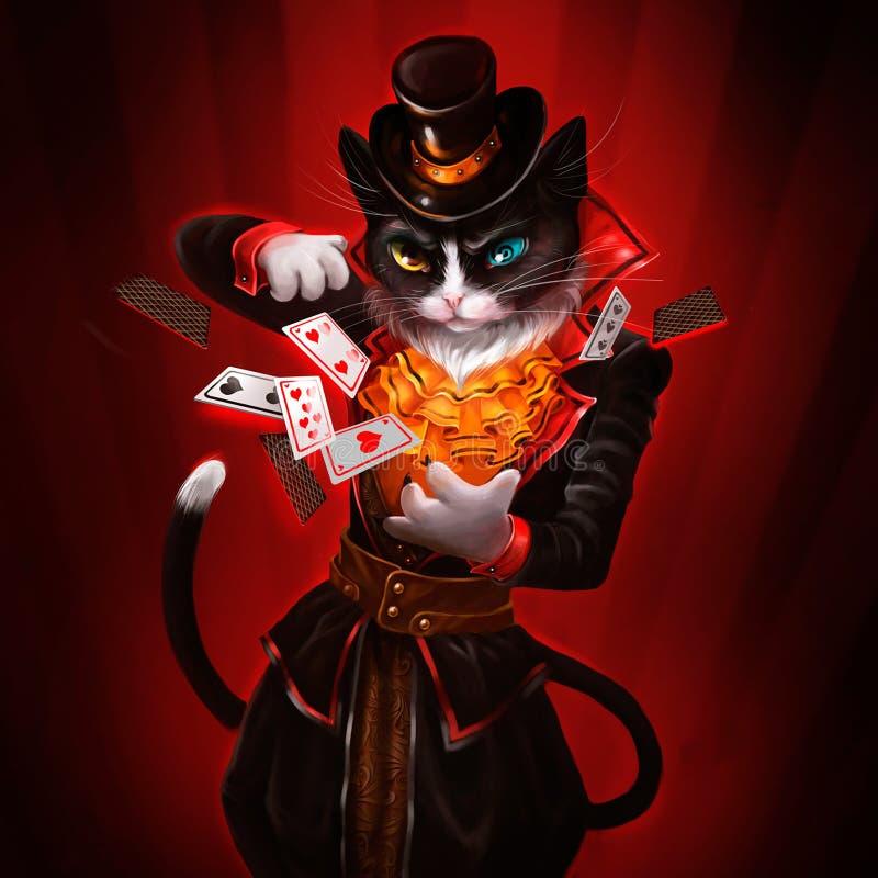 Ilustração de um gato com cartões de jogo ilustração do vetor