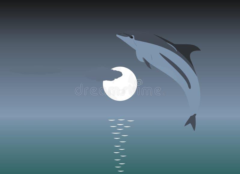 Ilustração de um golfinho de salto sobre um luar