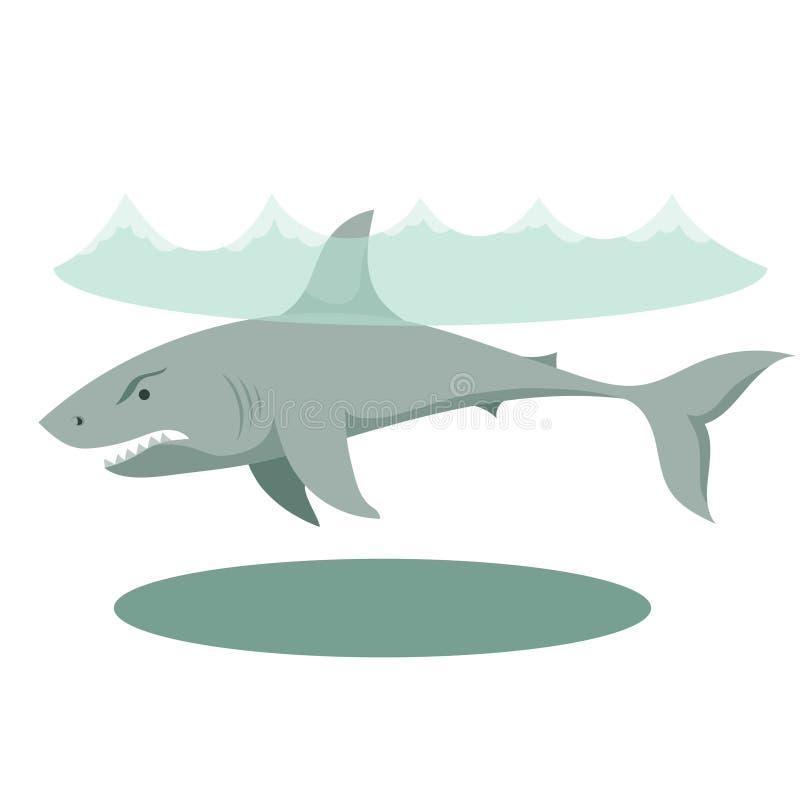 Ilustração de um grande tubarão cinzento dos desenhos animados com dentes grandes fotos de stock